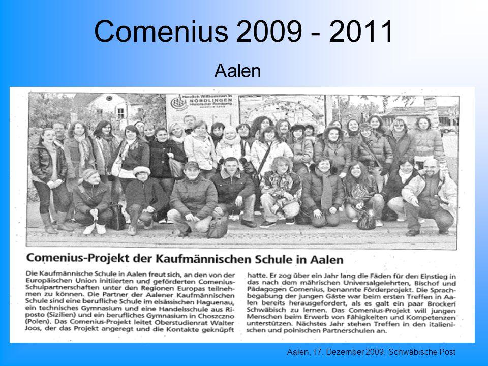 Comenius 2009 - 2011 Aalen, 17. Dezember 2009, Schwäbische Post Aalen