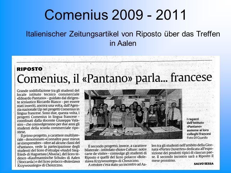 Comenius 2009 - 2011 Italienischer Zeitungsartikel von Riposto über das Treffen in Aalen