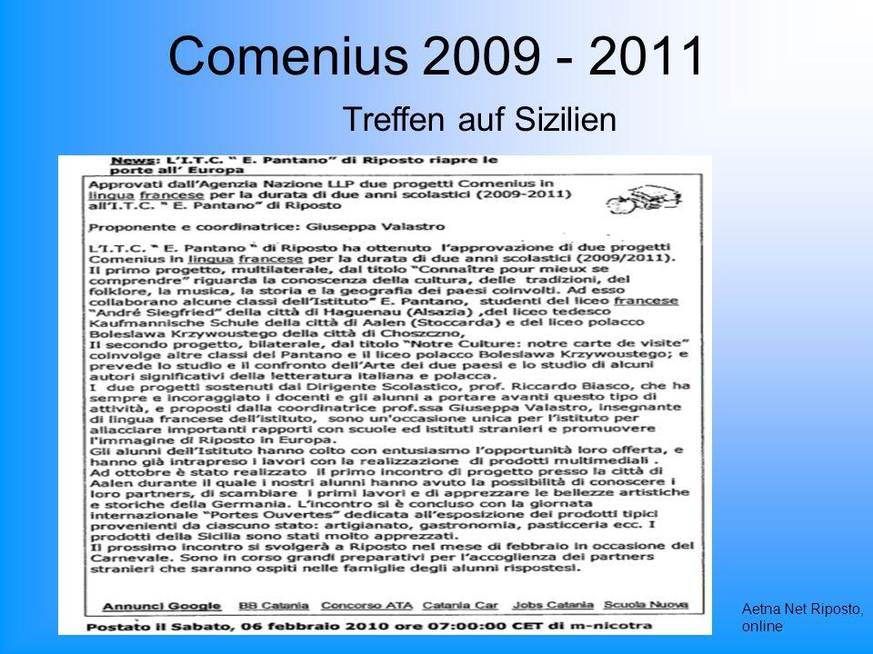 Comenius 2009 - 2011 Aetna Net Riposto, online Treffen auf Sizilien