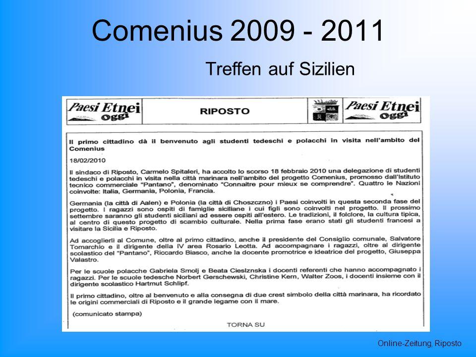 Comenius 2009 - 2011 Online-Zeitung, Riposto Treffen auf Sizilien