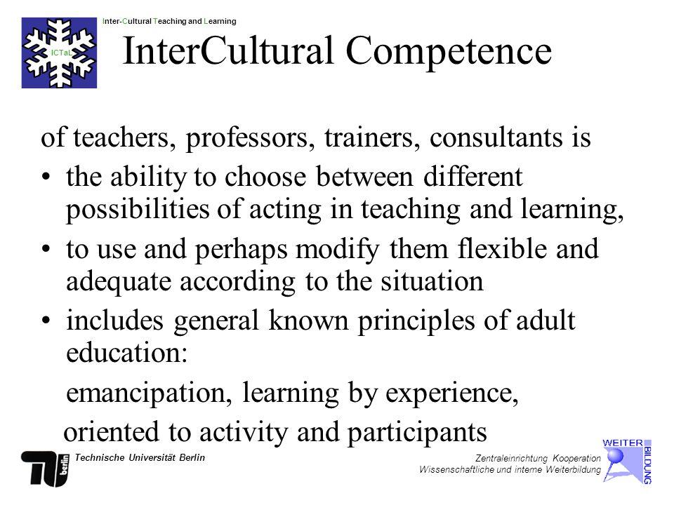 Inter-Cultural Teaching and Learning ICTaL Technische Universität Berlin Zentraleinrichtung Kooperation Wissenschaftliche und interne Weiterbildung Basic Components of ICTaL Awareness Knowledge Behaviour resp.