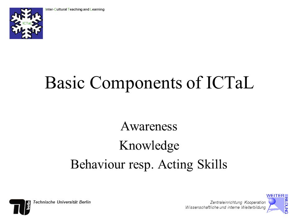 Inter-Cultural Teaching and Learning ICTaL Technische Universität Berlin Zentraleinrichtung Kooperation Wissenschaftliche und interne Weiterbildung Basic Components of ICTaL Awareness Knowledge Behaviour resp.