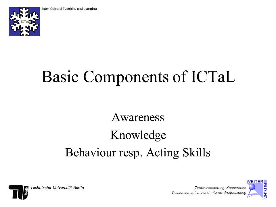 Inter-Cultural Teaching and Learning ICTaL Technische Universität Berlin Zentraleinrichtung Kooperation Wissenschaftliche und interne Weiterbildung Different Phases of Intercultural Learning 1.