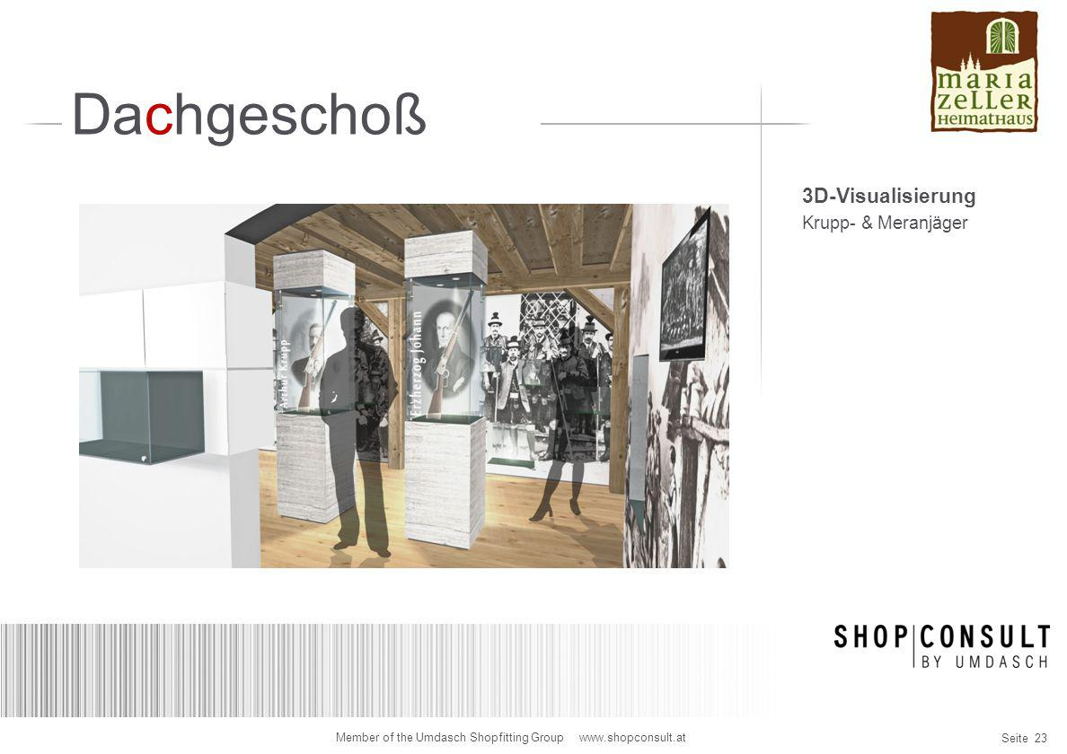 Seite 23 Member of the Umdasch Shopfitting Group www.shopconsult.at Dachgeschoß 3D-Visualisierung Krupp- & Meranjäger