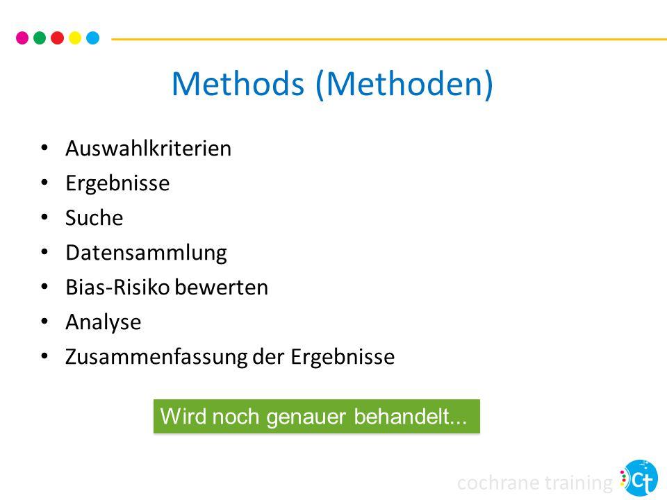 cochrane training Methods (Methoden) Auswahlkriterien Ergebnisse Suche Datensammlung Bias-Risiko bewerten Analyse Zusammenfassung der Ergebnisse Wird