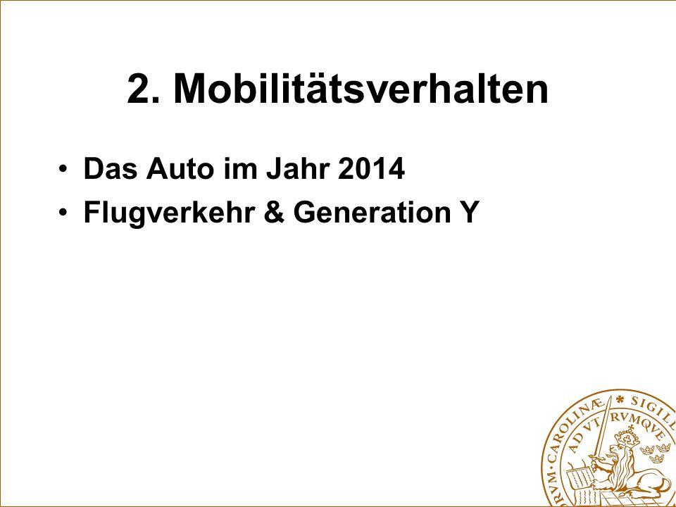 2. Mobilitätsverhalten Das Auto im Jahr 2014 Flugverkehr & Generation Y