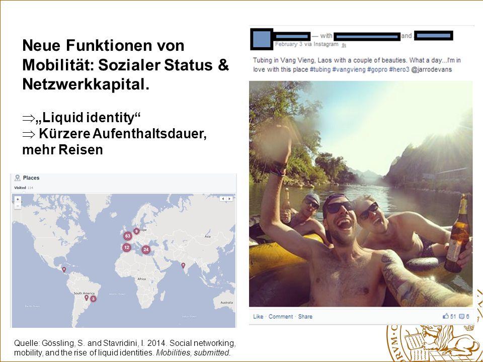 """Neue Funktionen von Mobilität: Sozialer Status & Netzwerkkapital.  """"Liquid identity""""  Kürzere Aufenthaltsdauer, mehr Reisen Quelle: Gössling, S. and"""
