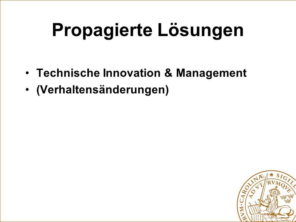 Propagierte Lösungen Technische Innovation & Management (Verhaltensänderungen)