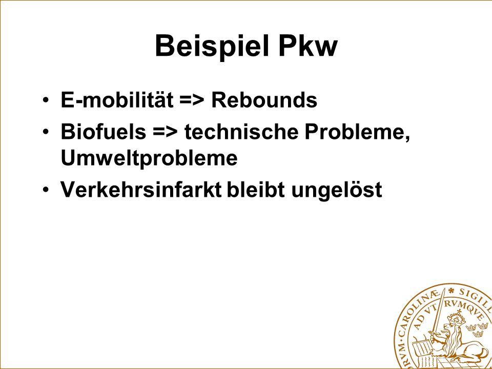 Beispiel Pkw E-mobilität => Rebounds Biofuels => technische Probleme, Umweltprobleme Verkehrsinfarkt bleibt ungelöst