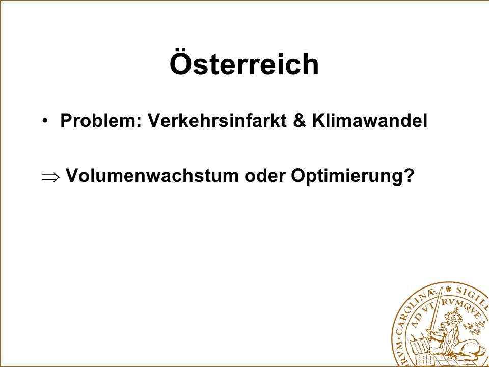 Österreich Problem: Verkehrsinfarkt & Klimawandel  Volumenwachstum oder Optimierung?
