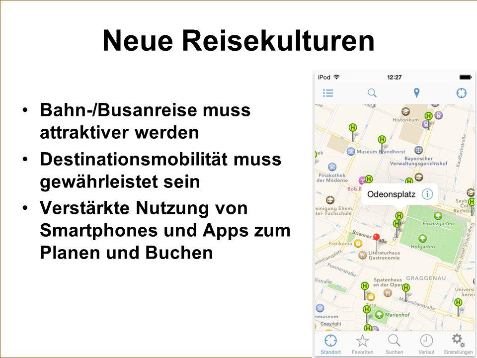Neue Reisekulturen Bahn-/Busanreise muss attraktiver werden Destinationsmobilität muss gewährleistet sein Verstärkte Nutzung von Smartphones und Apps