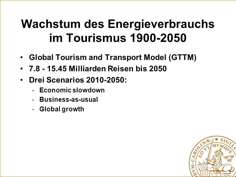 Wachstum des Energieverbrauchs im Tourismus 1900-2050 Global Tourism and Transport Model (GTTM) 7.8 - 15.45 Milliarden Reisen bis 2050 Drei Scenarios 2010-2050: -Economic slowdown -Business-as-usual -Global growth