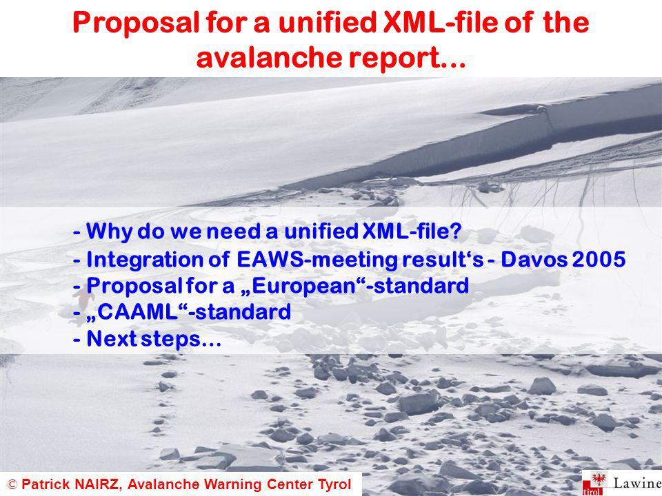 Proposal for a unified XML-file of the avalanche report...