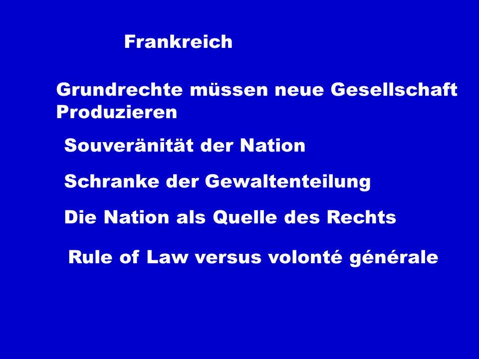 Frankreich Grundrechte müssen neue Gesellschaft Produzieren Souveränität der Nation Schranke der Gewaltenteilung Die Nation als Quelle des Rechts Rule of Law versus volonté générale