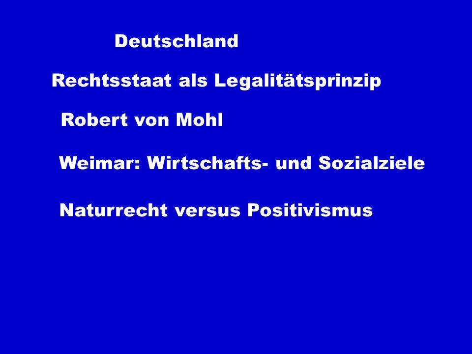 Deutschland Rechtsstaat als Legalitätsprinzip Robert von Mohl Weimar: Wirtschafts- und Sozialziele Naturrecht versus Positivismus