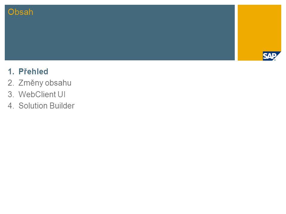 Krátký přehled novinek Rozsah předdefinovaných scénářů Předkonfigurovaný WebClient User Interface přizpůsobený rozsahu SAP Best Practices Nový nástroj k instalaci: SAP Best Practices Solution Builder