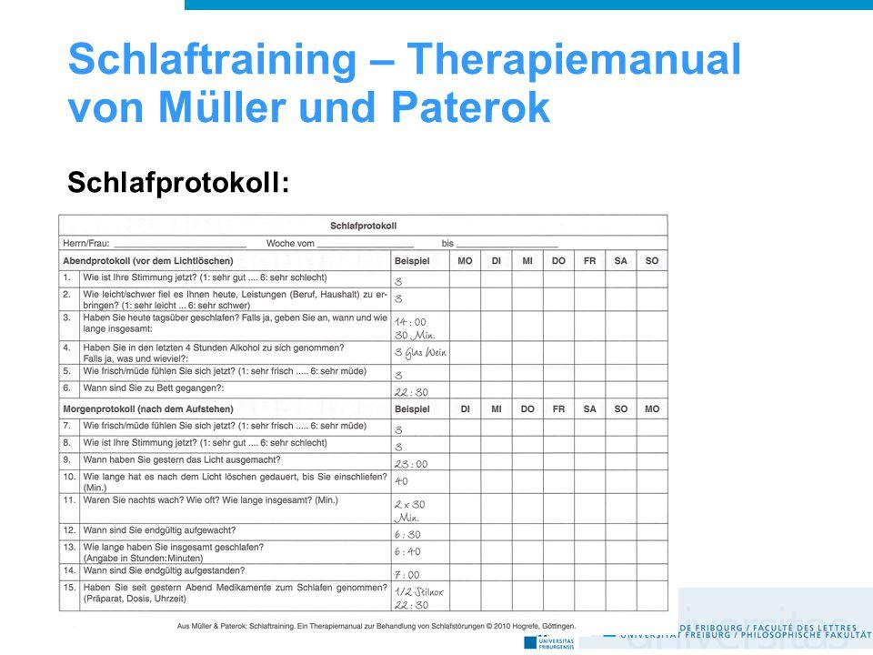 Schlaftraining – Therapiemanual von Müller und Paterok Schlafprotokoll: