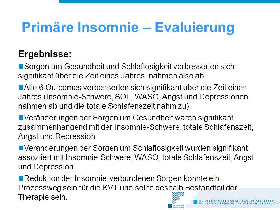 Ergebnisse: Sorgen um Gesundheit und Schlaflosigkeit verbesserten sich signifikant über die Zeit eines Jahres, nahmen also ab.