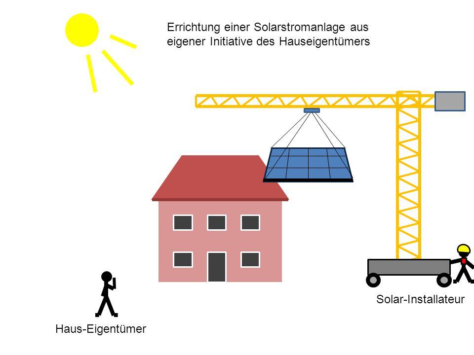 Haus-Eigentümer Errichtung einer Solarstromanlage aus eigener Initiative des Hauseigentümers Solar-Installateur