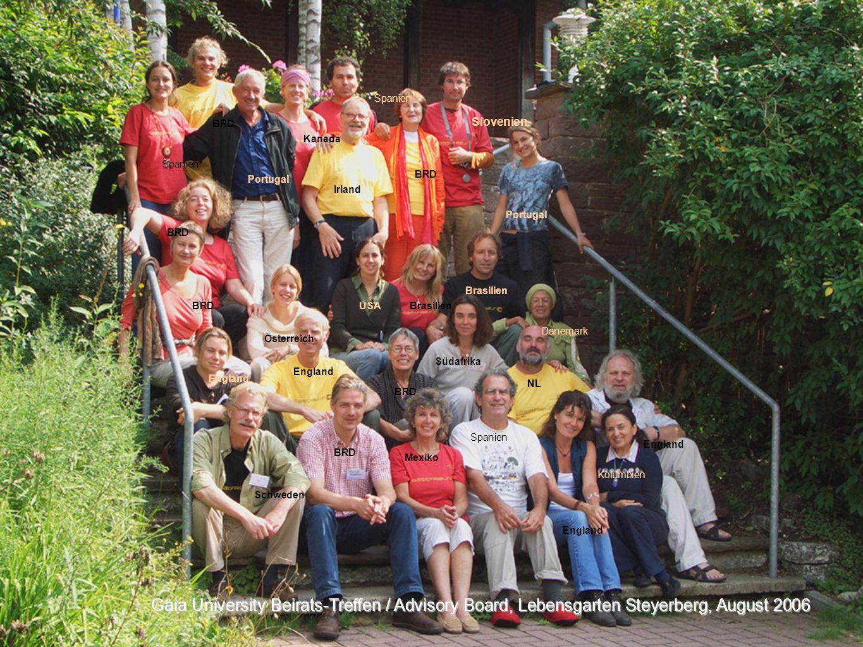 Gaia University Beirats-Treffen / Advisory Board, Lebensgarten Steyerberg, August 2006 Slovenien BRD Irland Spanien Kanada USABRD England BRD Spanien