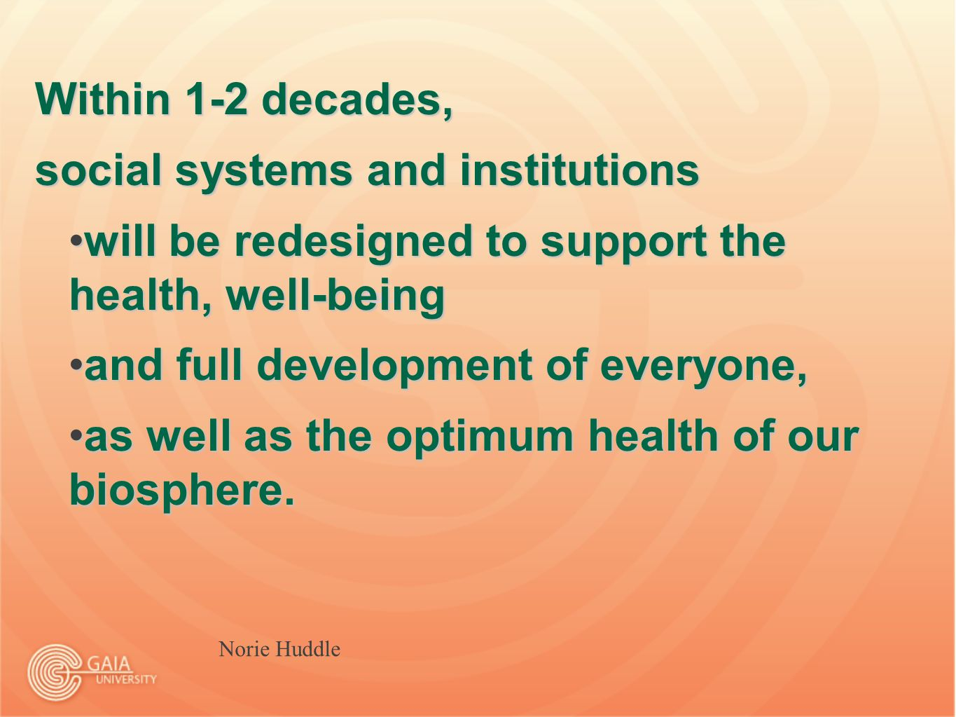 Folie 19 Within 1-2 decades, social systems and institutions will be redesigned to support the health, well-beingwill be redesigned to support the health, well-being and full development of everyone,and full development of everyone, as well as the optimum health of our biosphere.as well as the optimum health of our biosphere.