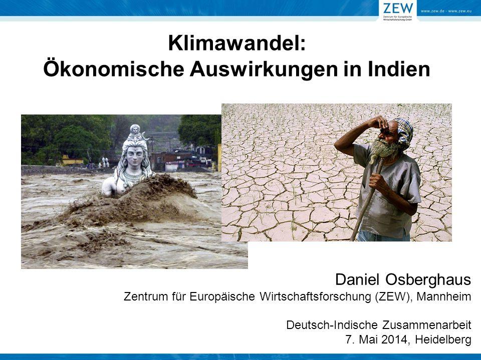 Klimawandel: Ökonomische Auswirkungen in Indien Daniel Osberghaus Zentrum für Europäische Wirtschaftsforschung (ZEW), Mannheim Deutsch-Indische Zusamm