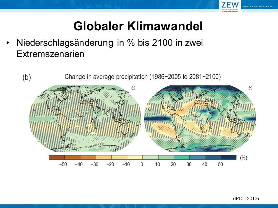 Globaler Klimawandel Niederschlagsänderung in % bis 2100 in zwei Extremszenarien (IPCC 2013)
