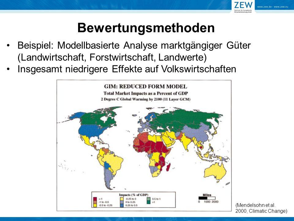 Bewertungsmethoden Beispiel: Modellbasierte Analyse marktgängiger Güter (Landwirtschaft, Forstwirtschaft, Landwerte) Insgesamt niedrigere Effekte auf