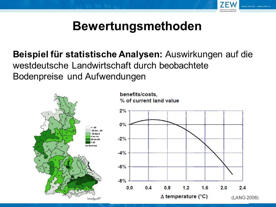 Beispiel für statistische Analysen: Auswirkungen auf die westdeutsche Landwirtschaft durch beobachtete Bodenpreise und Aufwendungen (LANG 2006) Bewert