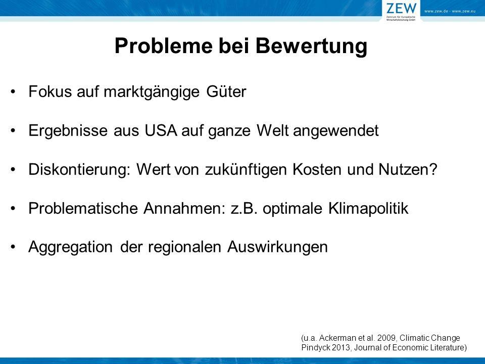 Fokus auf marktgängige Güter Ergebnisse aus USA auf ganze Welt angewendet Diskontierung: Wert von zukünftigen Kosten und Nutzen? Problematische Annahm