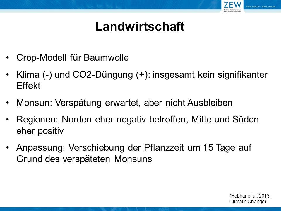 Landwirtschaft Crop-Modell für Baumwolle Klima (-) und CO2-Düngung (+): insgesamt kein signifikanter Effekt Monsun: Verspätung erwartet, aber nicht Au