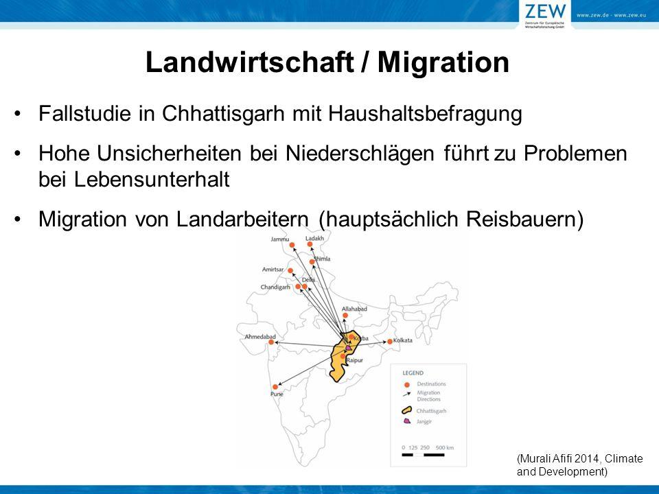 Landwirtschaft / Migration Fallstudie in Chhattisgarh mit Haushaltsbefragung Hohe Unsicherheiten bei Niederschlägen führt zu Problemen bei Lebensunter