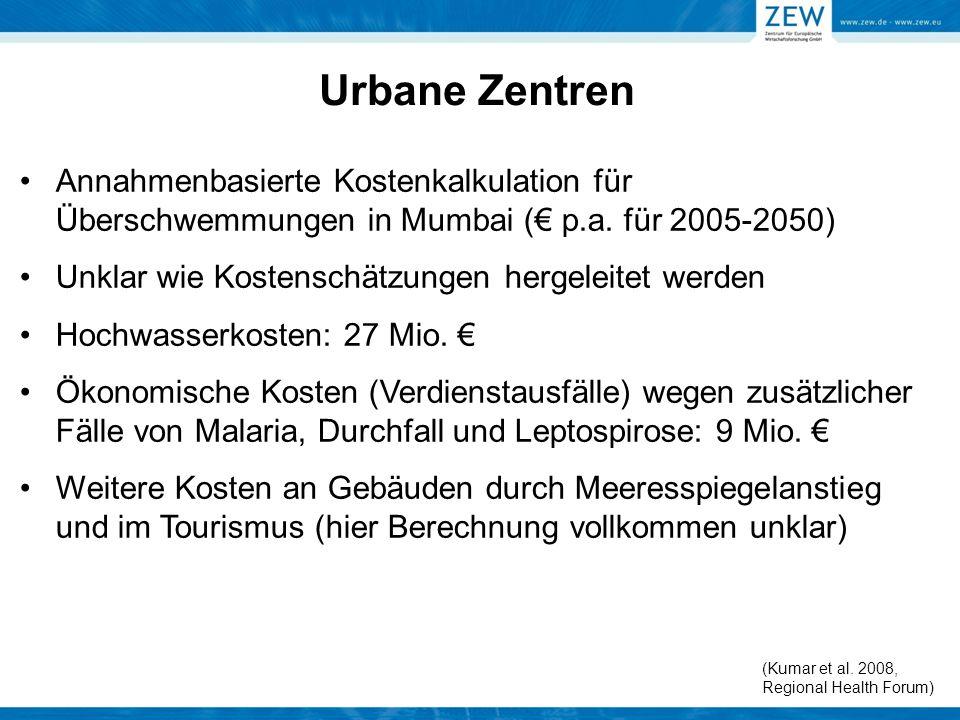Annahmenbasierte Kostenkalkulation für Überschwemmungen in Mumbai (€ p.a. für 2005-2050) Unklar wie Kostenschätzungen hergeleitet werden Hochwasserkos