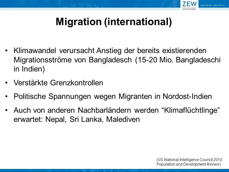 Migration (international) Klimawandel verursacht Anstieg der bereits existierenden Migrationsströme von Bangladesch (15-20 Mio. Bangladeschi in Indien
