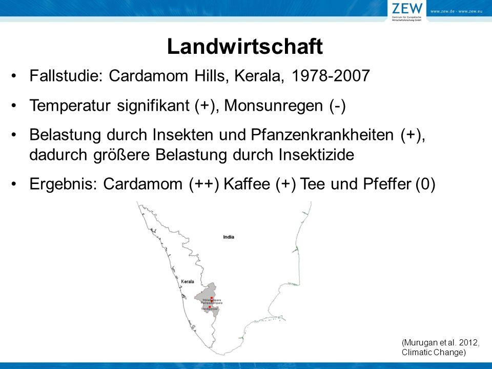 Landwirtschaft Fallstudie: Cardamom Hills, Kerala, 1978-2007 Temperatur signifikant (+), Monsunregen (-) Belastung durch Insekten und Pfanzenkrankheit