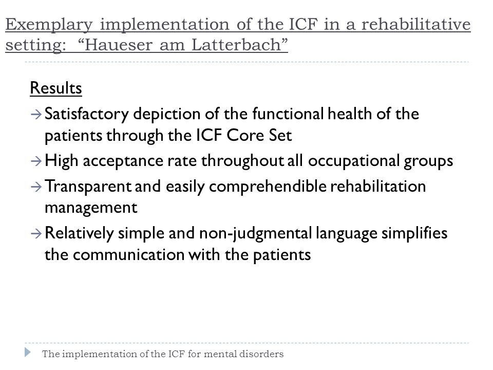 """Exemplary implementation of the ICF in a rehabilitative setting: """"Haueser am Latterbach"""" Results  Satisfactory depiction of the functional health of"""