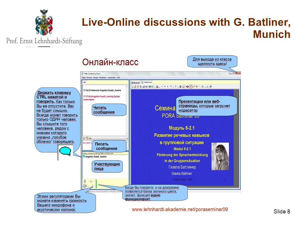 ml@lehnhardt-stiftung.org Slide 8 Live-Online discussions with G. Batliner, Munich