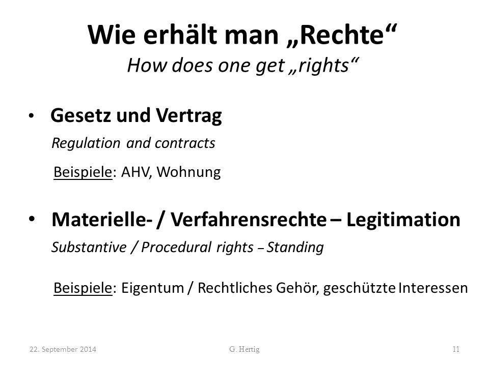 """Wie erhält man """"Rechte"""" How does one get """"rights"""" Gesetz und Vertrag Regulation and contracts Beispiele: AHV, Wohnung Materielle- / Verfahrensrechte –"""