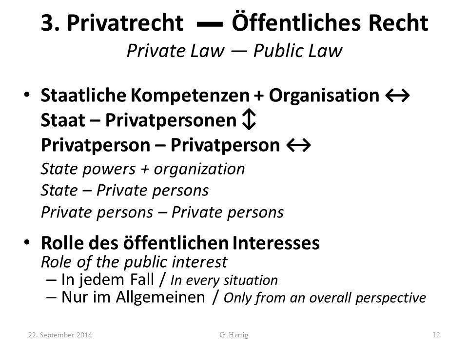 3. Privatrecht ▬ Öffentliches Recht Private Law ― Public Law Staatliche Kompetenzen + Organisation ↔ Staat – Privatpersonen ↕ Privatperson – Privatper