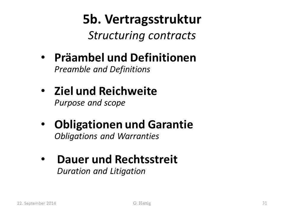 5b. Vertragsstruktur Structuring contracts Präambel und Definitionen Preamble and Definitions Ziel und Reichweite Purpose and scope Obligationen und G