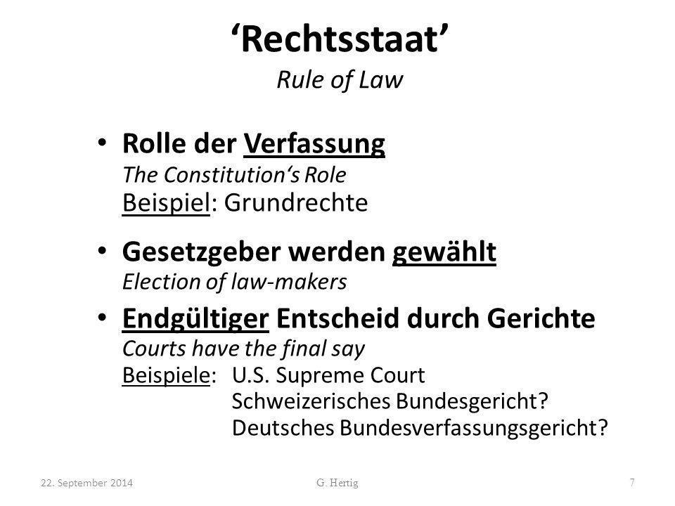 'Rechtsstaat' Rule of Law Rolle der Verfassung The Constitution's Role Beispiel: Grundrechte Gesetzgeber werden gewählt Election of law-makers Endgült