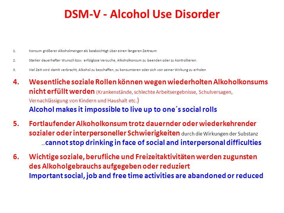 DSM-V - Alcohol Use Disorder 1.Konsum größerer Alkoholmengen als beabsichtigt über einen längeren Zeitraum 2.Starker dauerhafter Wunsch bzw.