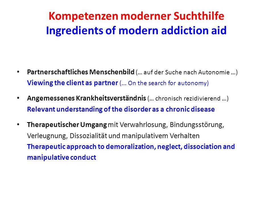 Kompetenzen moderner Suchthilfe Ingredients of modern addiction aid Partnerschaftliches Menschenbild (… auf der Suche nach Autonomie …) Viewing the client as partner (...