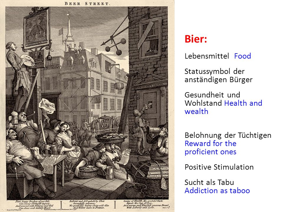 Bier: Lebensmittel Food Statussymbol der anständigen Bürger Gesundheit und Wohlstand Health and wealth Belohnung der Tüchtigen Reward for the proficient ones Positive Stimulation Sucht als Tabu Addiction as taboo