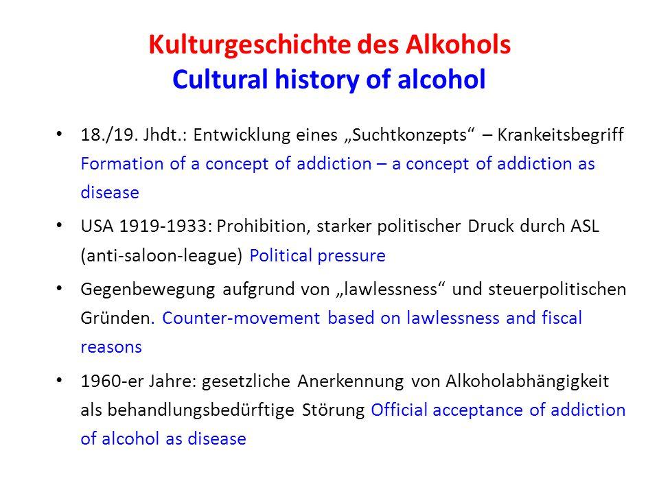 Kulturgeschichte des Alkohols Cultural history of alcohol 18./19.
