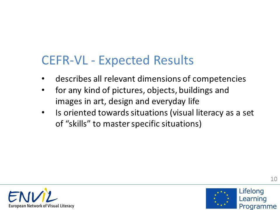 10 CEFR-VL - Expected Results describes all relevant dimensions of competencies for any kind of pictures, objects, buildings and images in art, design and everyday life Is oriented towards situations (visual literacy as a set of skills to master specific situations)
