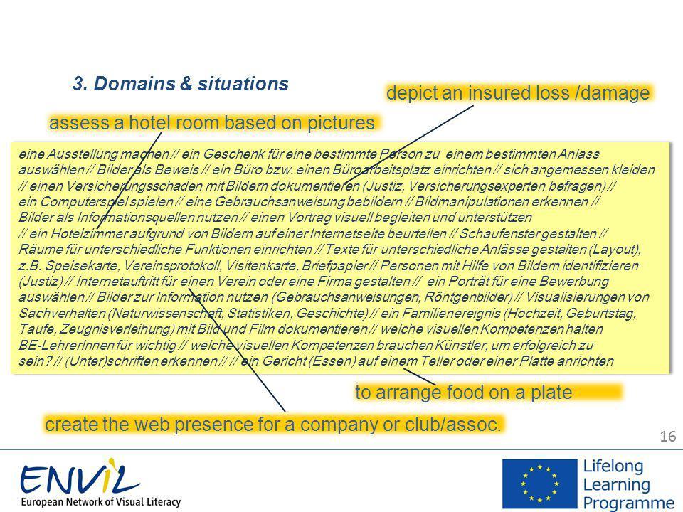 16 3. Domains & situations eine Ausstellung machen // ein Geschenk für eine bestimmte Person zu einem bestimmten Anlass auswählen // Bilder als Beweis