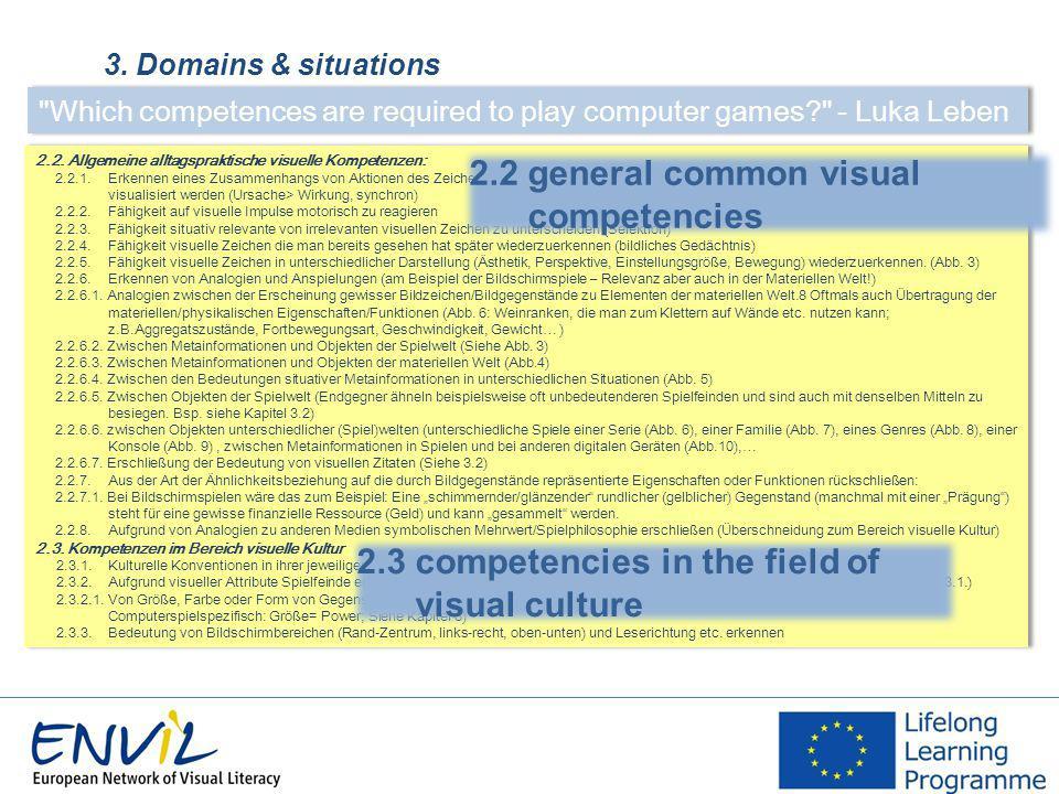 3. Domains & situations 2.2. Allgemeine alltagspraktische visuelle Kompetenzen: 2.2.1.