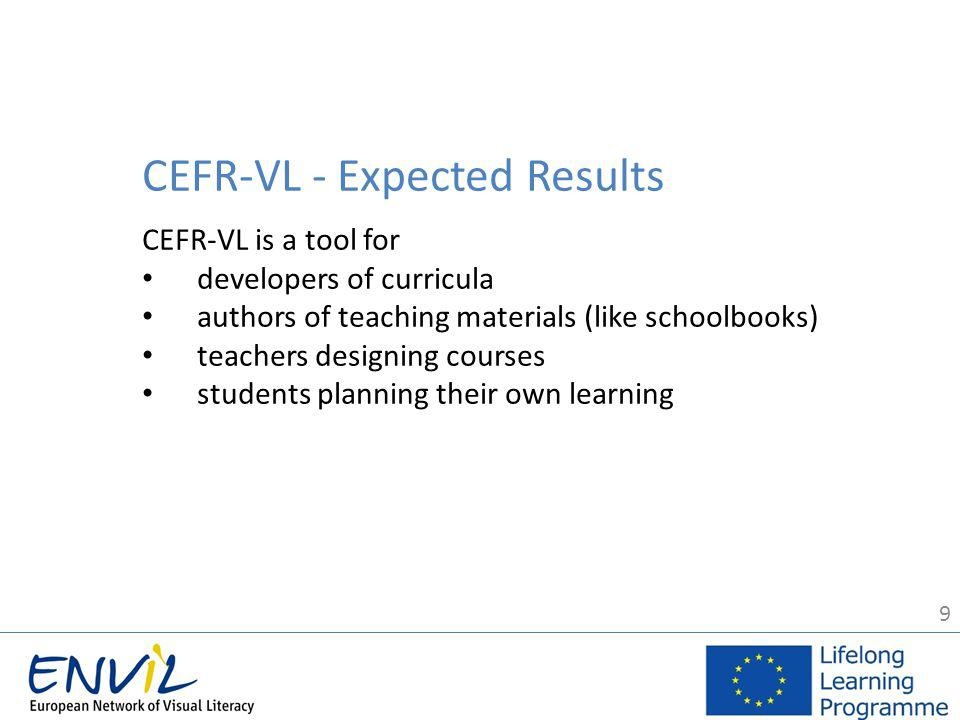9 CEFR-VL - Expected Results CEFR-VL is a tool for developers of curricula authors of teaching materials (like schoolbooks) teachers designing courses students planning their own learning