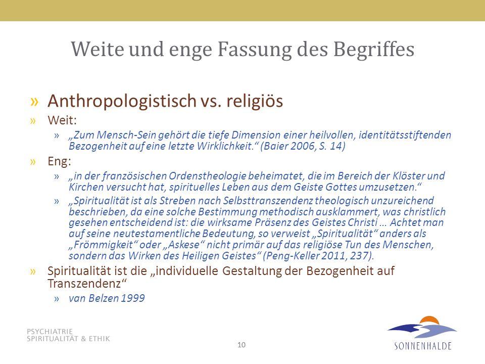 """10 Weite und enge Fassung des Begriffes »Anthropologistisch vs. religiös »Weit: »""""Zum Mensch-Sein gehört die tiefe Dimension einer heilvollen, identit"""